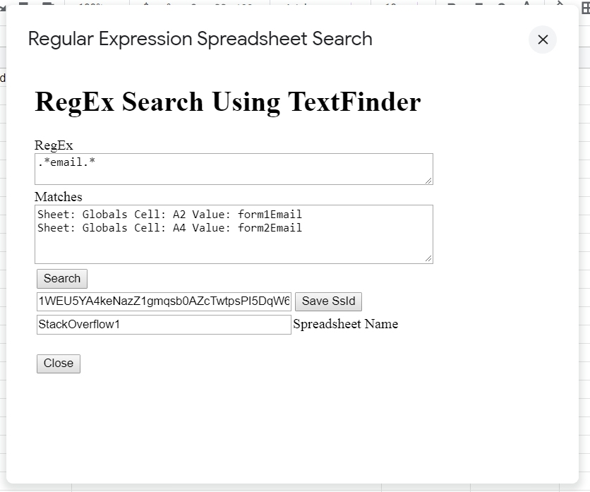 Free Source for Google Sheets Regex Search Dialog